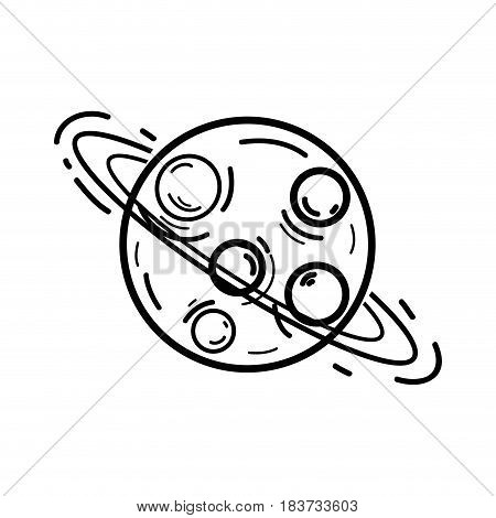 figure exploration uranus planet in the galaxy space, vector illustration