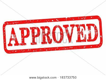 Approved rubber stamp with red text isolated on white background. Vector illustration