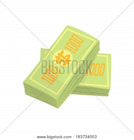 US dollars banknotes money stack. Colorful cartoon vector Illustration isolated on a white background