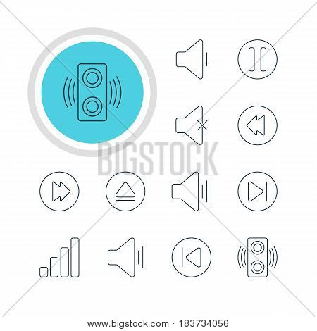 Vector Illustration Of 12 Melody Icons. Editable Pack Of Rewind, Decrease Sound, Preceding And Other Elements.