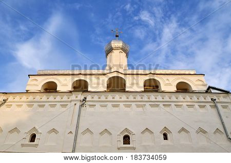 Veliky Novgorod Russia. The belfry of St Sophia Orthodox Cathedral at summer sunset in Novgorod Veliky Russia - lowest point shooting. Architecture closeup view of Veliky Novgorod landmark