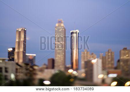 the atlanta georgia city skyline early morning