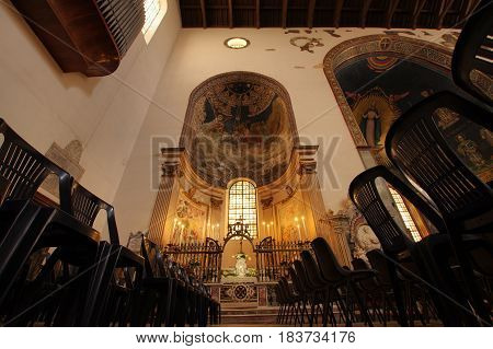 SALERNO ITALY - APRIL 23 2017: chapel at the right of the apse in the San Matteo cathedral
