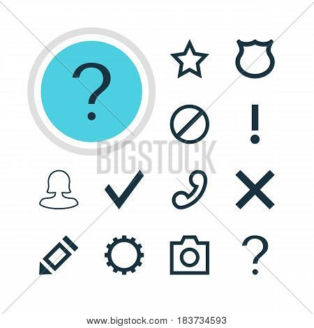 Vector Illustration Of 12 User Icons. Editable Pack Of Asterisk, Conservation, Help And Other Elements.