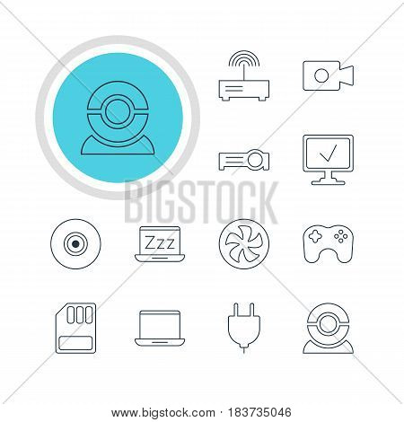 Vector Illustration Of 12 Notebook Icons. Editable Pack Of Storage, Router, Gamepad And Other Elements.
