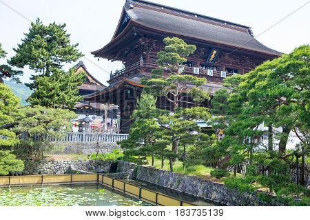 NAGANO, JAPAN - MAY 23, 2015: Zenkoji Temple, Nagano, JAPAN. One of the most important temples in Japan which was built in the 7th century in jubilee year