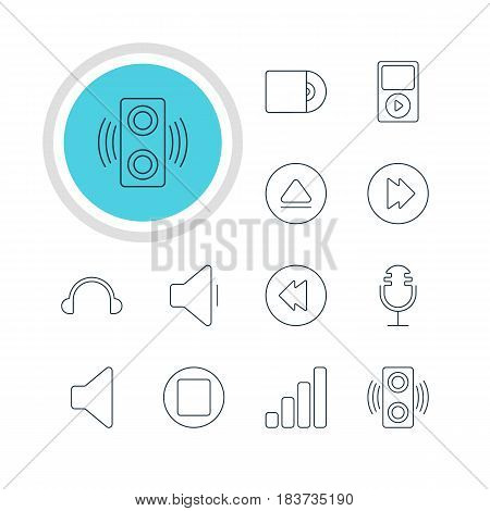 Vector Illustration Of 12 Melody Icons. Editable Pack Of Earphone, Pause, Decrease Sound And Other Elements.