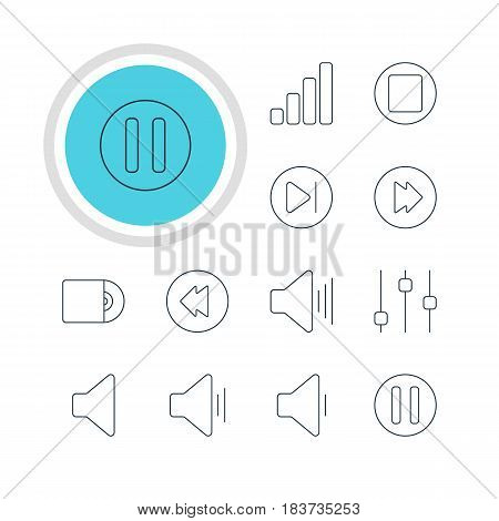 Vector Illustration Of 12 Melody Icons. Editable Pack Of Advanced, Reversing, Decrease Sound And Other Elements.