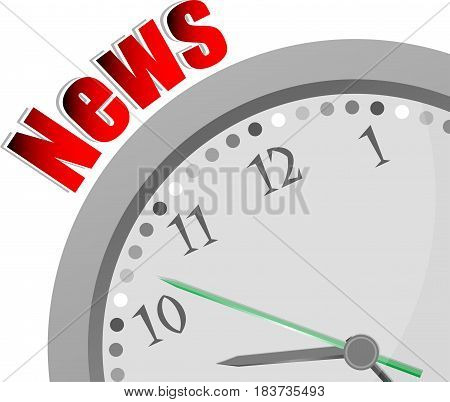 Text Breaking News. News Concept . Color Word And Modern Clock On White