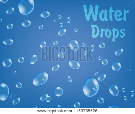 Drops of water on a blue background. Humidification. Realistic vector illustration.