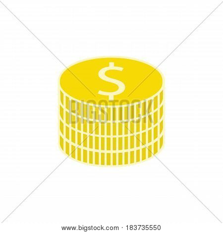 Coins flat icon, finance and business, dollar sign vector graphics, a colorful solid pattern on a white background, eps 10.