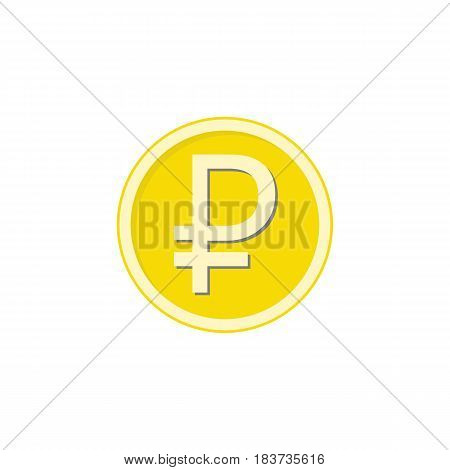 Gold ruble coin flat icon, finance and business, ruble sign vector graphics, a colorful solid pattern on a white background, eps 10.