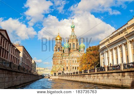 Center of St Petersburg Russia - Cathedral of Our Saviour on Spilled Blood and Griboedov channel in St Petersburg Russia in sunny autumn day. Architecture autumn view of St Petersburg landmark