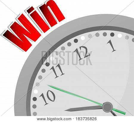 Text Win. Business Concept . Color Word And Modern Clock On White