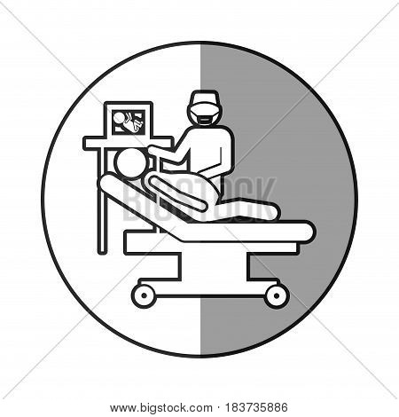 circular frame shading with silhouette pregnant woman with obstetrician vector illustration