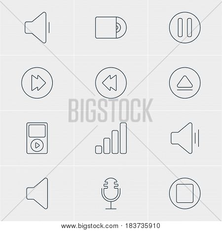Vector Illustration Of 12 Music Icons. Editable Pack Of Decrease Sound, Reversing, Rewind And Other Elements.