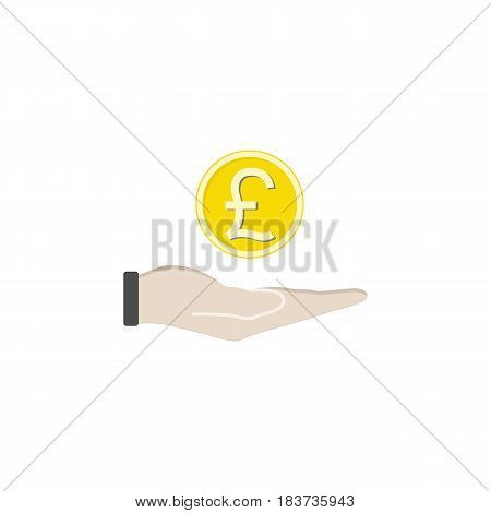 Coin in hand solid icon, finance and business, pound coin sign vector graphics, a filled pattern on a white background, eps 10.