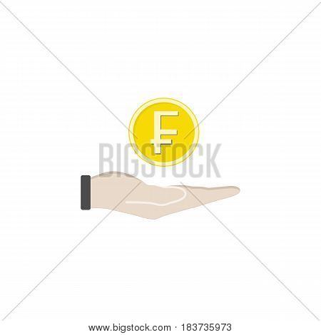 Coin in hand solid icon, finance and business, Swiss franc coin sign vector graphics, a filled pattern on a white background, eps 10.