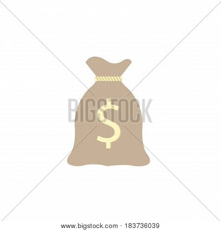 Money bag flat icon, finance and business, dollar sign vector graphics, a filled pattern on a white background, eps 10.