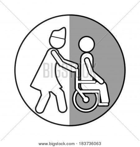 circular frame shading with silhouette nurse helping another person push a wheelchair vector illustration