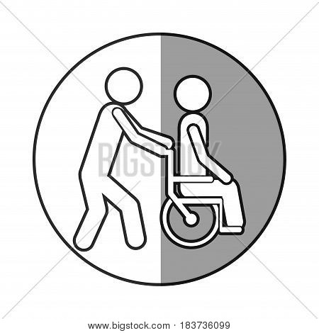 circular frame shading with silhouette person helping another push a wheelchair vector illustration