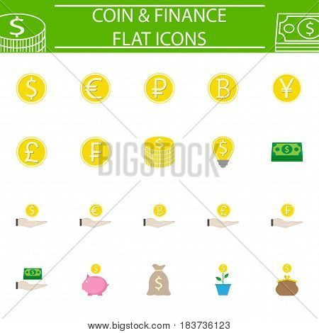 Coins flat pictograms package, finance symbols collection, business vector sketches, logo illustrations, economy colorful solid icon set isolated on white background, eps 10.