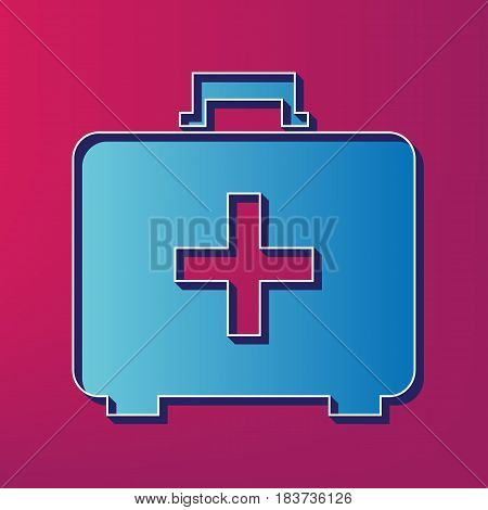 Medical First aid box sign. Vector. Blue 3d printed icon on magenta background.