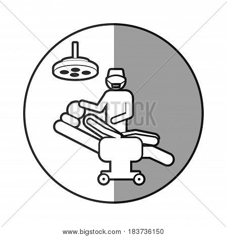 circular frame shading with pictogram person with surgeon vector illustration