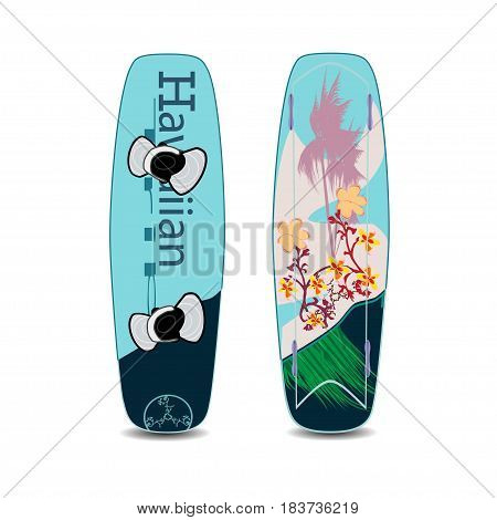 Vector illustration of wakeboard with fixation for shoes isolated on white background. Two sides of wakeboard flat style design elements.