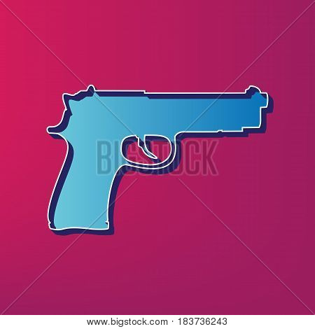 Gun sign illustration. Vector. Blue 3d printed icon on magenta background.