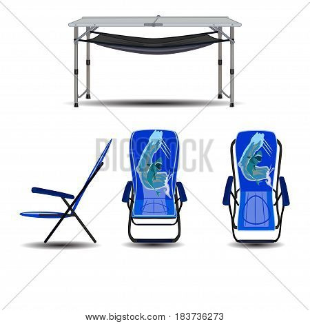 Vector set of camping hiking beach folding chairs and table. Flat style design elements isolated on white background.