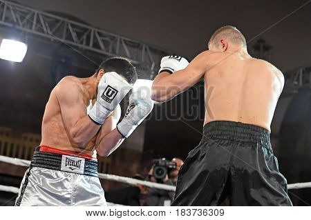 Boxers In The Ring During Fight For Ranking Points