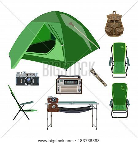 Vector set of camping icons. Folding chairs and table tent camera backpack radio and flashlight flat style design elements isolated on white background.