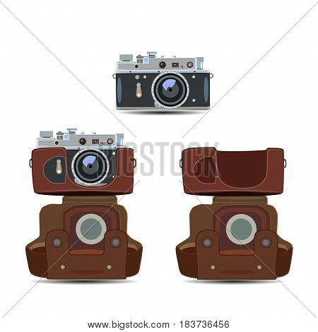 Vector illustration of retro camera with bag in flat style. Vintage photo camera icon isolated on white background.