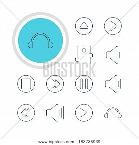 Vector Illustration Of 12 Melody Icons. Editable Pack Of Earphone, Pause, Audio And Other Elements.