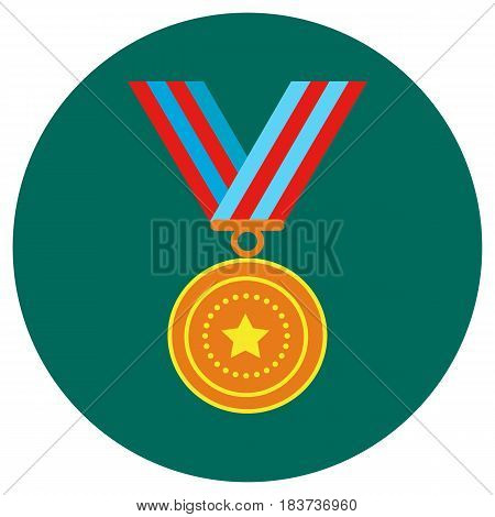 Icons medals in the flat style. Vector image on a round colored background. Element of design, interface.
