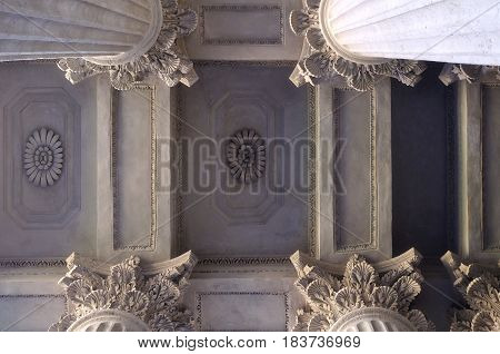 ST PETERSBURG,RUSSIA- AUGUST 4, 2015. Architecture design of Kazan Cathedral ceiling lit by soft sunshine in St Petersburg Russia. Architecture background. Closeup architecture view of landmark of St Petersburg Russia - vintage tones