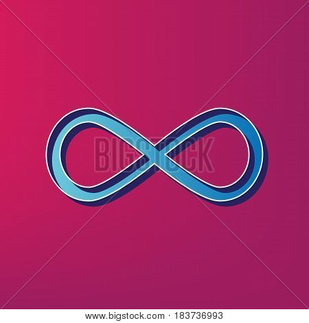 Limitless symbol illustration. Vector. Blue 3d printed icon on magenta background.