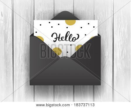 Black opened envelope with Hello Lettering on wooden background. Vector Illustration EPS10