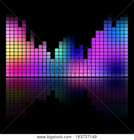 Colorful music equalizer sound wave isolated vector