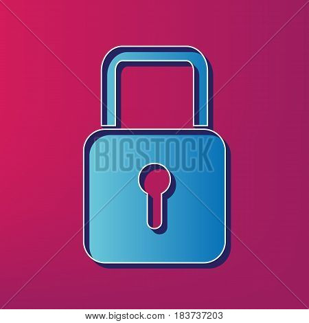 Lock sign illustration. Vector. Blue 3d printed icon on magenta background.