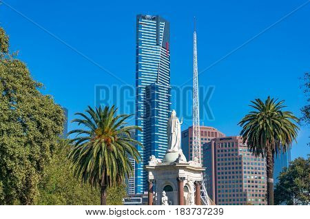 Eureka Tower And Melbourne Southbank Cityscape On Sunny Day