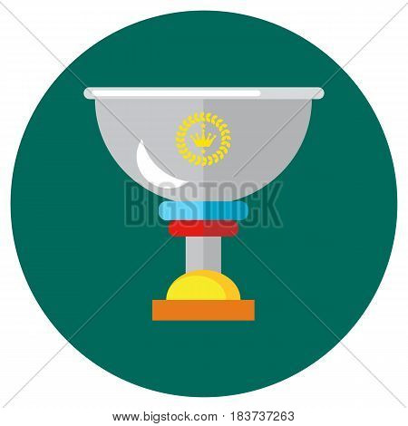 Icons cups in the flat style. Vector image on a round colored background. Element of design, interface.