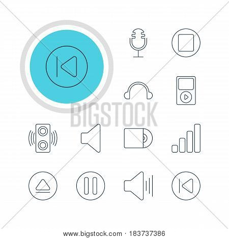 Vector Illustration Of 12 Melody Icons. Editable Pack Of Preceding, Amplifier, Earphone And Other Elements.