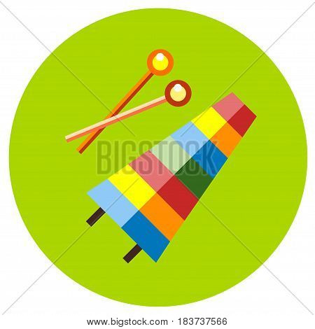 Icons xylophone of toys in the flat style. Vector image on a round colored background. Element of design, interface
