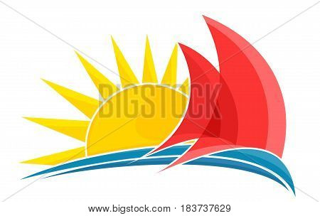 A sailing vessel logo with a blue wave and dawn of the sun.