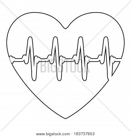 silhouette of heart with signs of life vector illustration