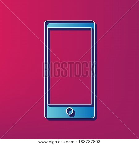 Abstract style modern gadget with blank screen. Template for any content. Vector. Blue 3d printed icon on magenta background.