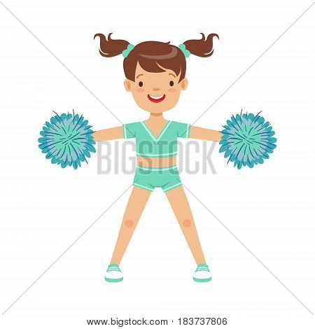 Happy little girl dancing with blue pompoms. Light blue cheerleader uniform. Colorful cartoon character vector Illustration isolated on a white background