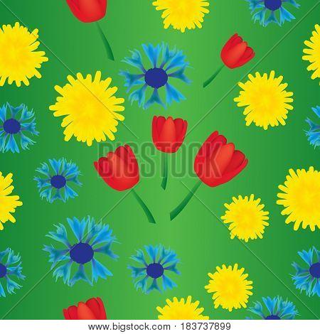Dandelion cornflower and tulip seamless ethnic abstract pattern;